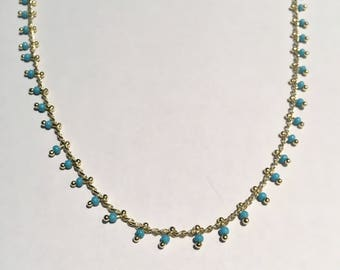 Crew neck gold and blue beads Choker necklace easy to wear gift wife gift daughter birthday gift