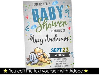 Winnie  the Pooh Invitation - Winnie the Pooh Baby Shower Invitation - Baby Shower Invitation - Winnie Baby Shower - INSTANT DOWNLOAD