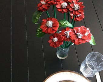 12 Hand Made Pinecone Flowers Painted with Stems
