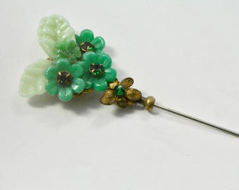 Vintage Miriam Haskell Green Molded Glass and Green Rhinestones Floral Stick Pin, 1950s Brooch