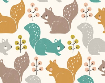 Cotton fabric - Dashwood Studio - multicolored and Hazel squirrel - Harvestwood by 50cm (110 x)