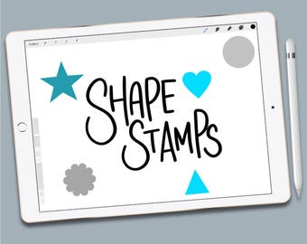 Procreate Shapes Stamp Pack, 17 brush stamps