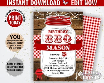 INSTANT DOWNLOAD / edit yourself now / BBQ Invitation / Bbq Birthday / Backyard / barbecue / barbeque / Invite / woodland red plaid BDBBQ2