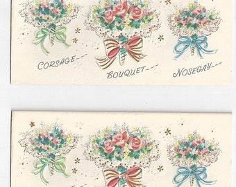 "On Sale 1950s Floral Birthday Card ""Corsage...Bouquet...Nosegay"""