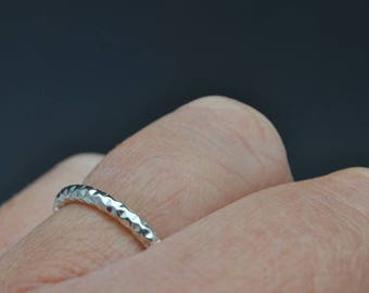 Sterling silver diamond cut stacking ring