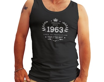 Birthday Original Since 1963 Aged To Perfection 55 Fifty Five Years Anniversary Tank Top Shirt for Men Cool Gift