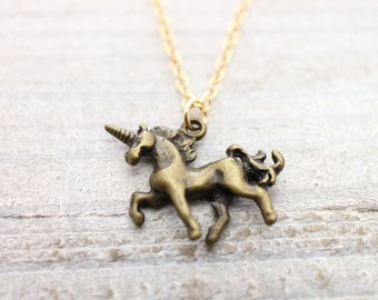 Antique unicon gold filled chain necklace