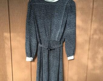 80's navy and polka dot dress medium