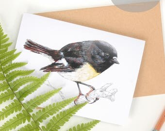 Tomtit - Miromiro folded A6 card from NZ native birds series by Emilie Geant, from original watercolor painting