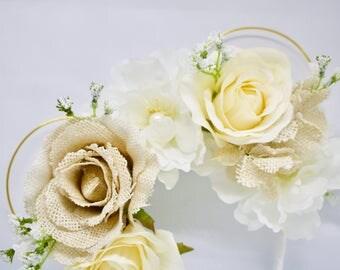 wedding mouse ears, burlap flowers, Disney ears, Minnie mouse ears, wire mouse ears, floral wire ears, mouse ears, white mouse ears