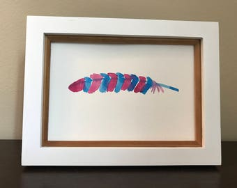 Striped Whimsical Feather Original Watercolor | wall art | hand painted