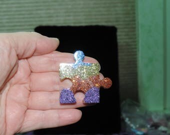 Resin Puzzle Piece Pin