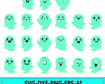 60 % OFF, Ghosts SVG, Halloween Svg, Halloween Clipart, Ghosts Faces Silhouette svg, dxf, ai, eps, png, Halloween Vector Files
