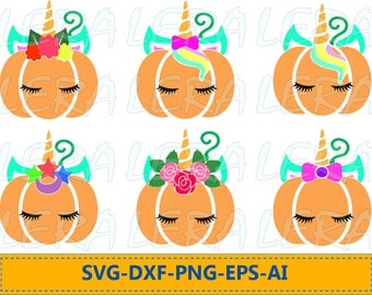 60 % OFF, Pumpkin Unicorn svg, Pumpkin Unicorn with eyelashes, Unicorn face  SVG, dxf, ai, eps, png, Pumpkin unicorn Vector Files