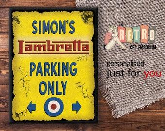 Scooter Parking Sign, Custom Metal Sign, Motorcycle Gift, No Parking Sign, Lambretta, Vespa, Mods, vintage look sign