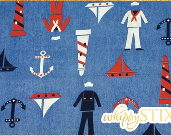 Sailor Fabric Remnant, 33x43 Blue Red White Nautical Cotton Fabric, Nursery or Childs Room Sailor Material Anchor Sailboat Lighthouse Fabric