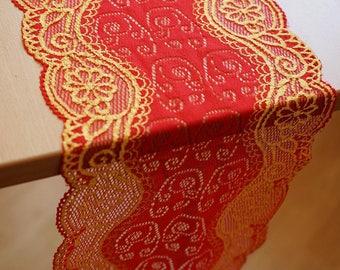 1.50 meters x 17 cm lace openwork gold red lycra Ref 1540