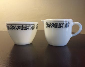 Pyrex Corning Blue Onion/Old Town Cream and Sugar Set