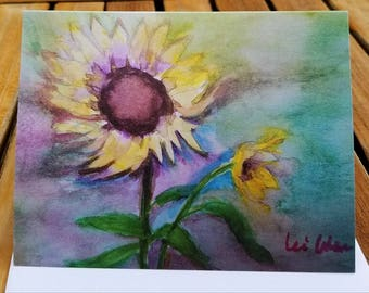 Sunflower print, Blank Greeting cards, all occasion cards, Blank Cards, flower cards,4x5.5, with envelope, Sunflower cards, handmade cards