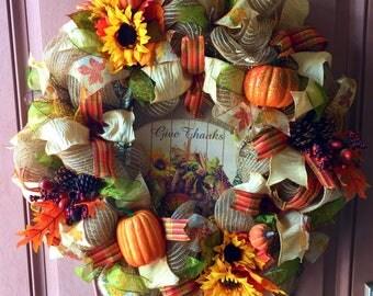 Fall Deco Mesh Wreath, Deco Mesh Wreath, Autumn Deco Mesh Wreath, Fall Wreath, Autum Wreath, Fall Home Decor, Autumn Home Decor