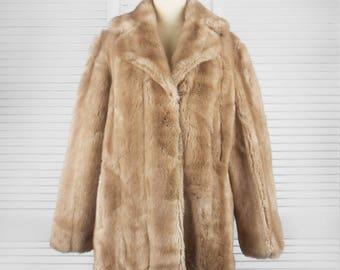 VINTAGE 60s or 70s Dynamink Faux Fur Beige Coat Jacket