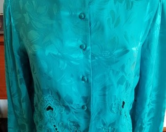 80s Blue Teal Turquoise Silk Cropped Blouse. Lace Detail. Top. Neiman Marcus. Size Small Medium