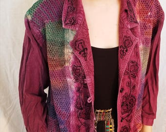 90s Purple cropped Jacket Top. Tribal Print. Blouse. Size Medium