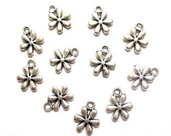 10 charms flower silver 13 x 11 mm