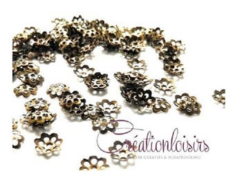 100 bead caps pearls bronze flower for creating jewelry