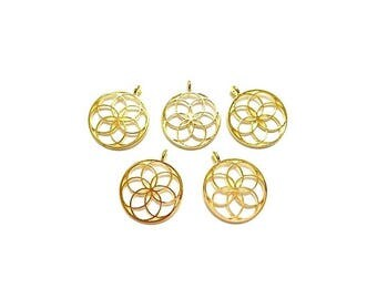5 pendants round gold seed of life hollow 35 mm x 30mm