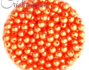 Lot 100 mother of Pearl round beads acrylic orange 6 mm