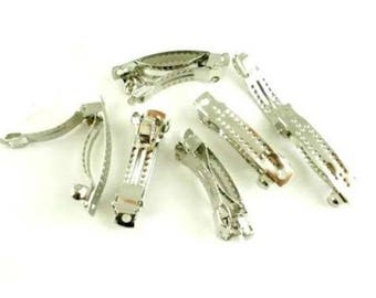 5 blank 29 x 5 mm silver metal hair clip barrettes