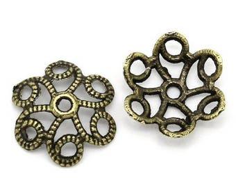 20 bead caps flower antique Bronze 11 x 10 mm