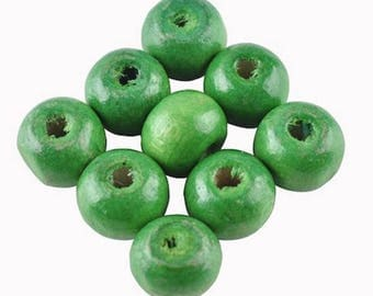 30 round 8 mm Green wooden beads
