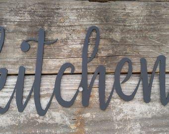 Metal Kitchen Signs, Farmhouse Wall Decor, Metal Words, Rustic Wall Decor, Kitchen Wall Signs, Kitchen Farmhouse Sign, Metal Word Wall Art,