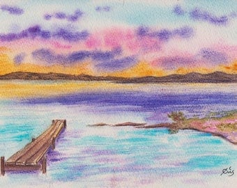 Original watercolor  Evening light at the edge of the ocean