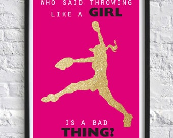 Girl Baseball Pitching Inspirational Quote