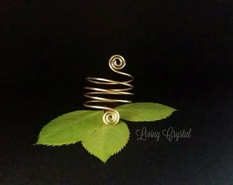 Elegant egyptian style boho chic simple silver or gold ring with double spiral and finger wrap around style delicate and petite