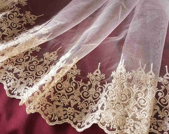 super gold lace embroidery on tulle fabric 2.85 m style Alencon 47.5 cm width