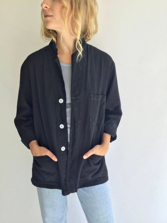 Vintage Black Overdye Chore Jacket Coat Blazer | Three Patch Pocket Cotton French Workwear Style Chore Utility Work Jacket SEE SIZE RUN
