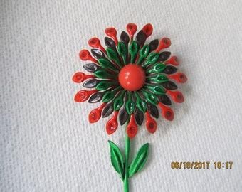ENAMEL FLOWER BROOCH, Orange/Green Brooch