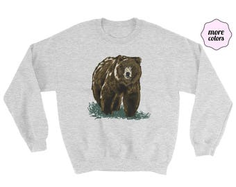 Grizzly etsy grizzly crewneck sweater adult unisex bear sweater bear sweatshirt grizzly sweater fathers publicscrutiny Image collections