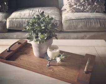 Wood Breakfast Tray, Serving Tray, Coffee Table Tray,  Farmhouse Decor