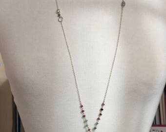 Long necklace with tassel and semiprecious stones