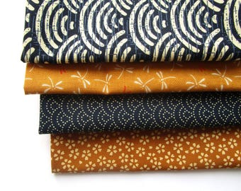 Set of 4 coupons 45 x 35 cm Japanese fabric - dragonflies, waves and flowers - Navy and yellow ocher