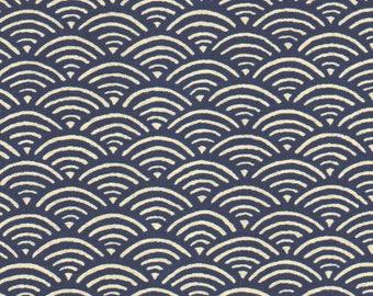 coupon 50 x 55 cm fabric Japanese geometric waves dark blue