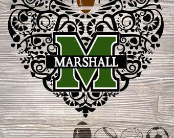 Marshall University Patterned Heart SVG DXF Digital Cut Files