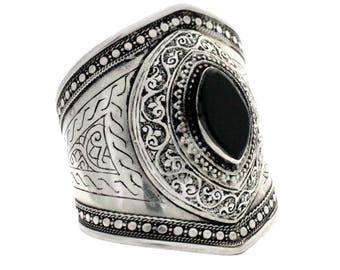 Afghani Black Agate Stone Cuff / Bracelet