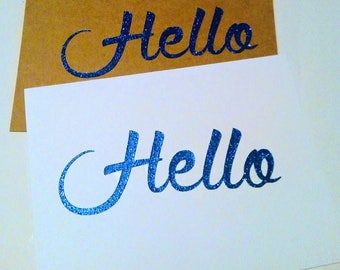 Blue Glitter Greeting cards