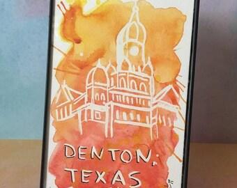Denton Texas Watercolor Painting Court Square Splash Painting